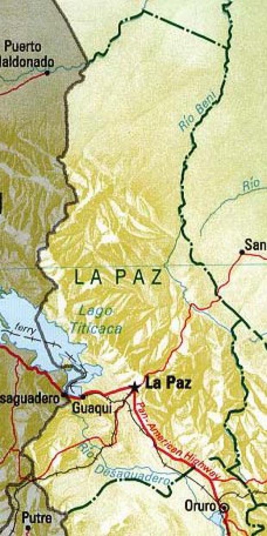 Mapa del Departamento de La Paz, Bolivia