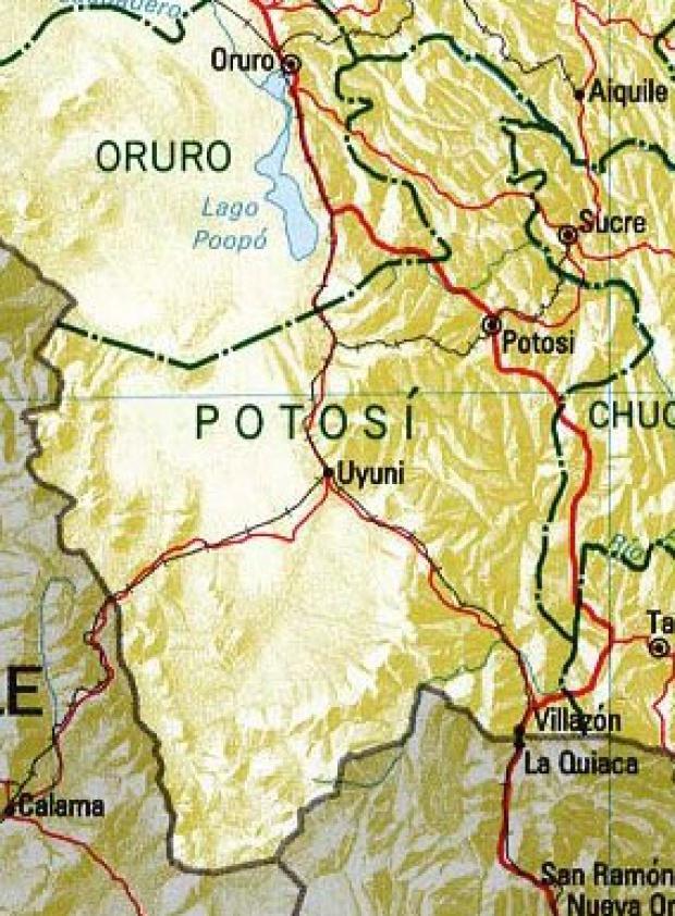 Mapa del Departamento de Potosí, Bolivia