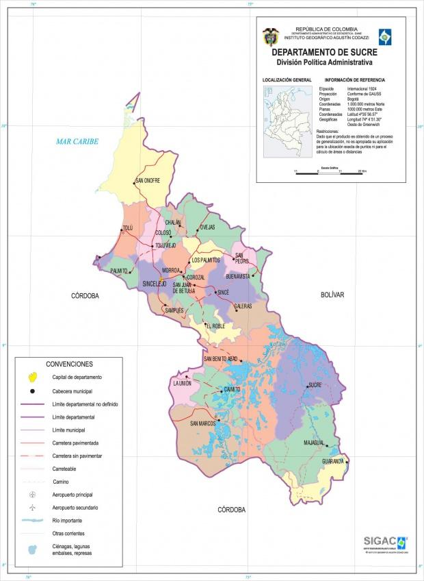 Mapa del Departamento de Sucre, Colombia