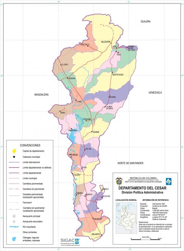 Mapa del Departamento del Cesar, Colombia