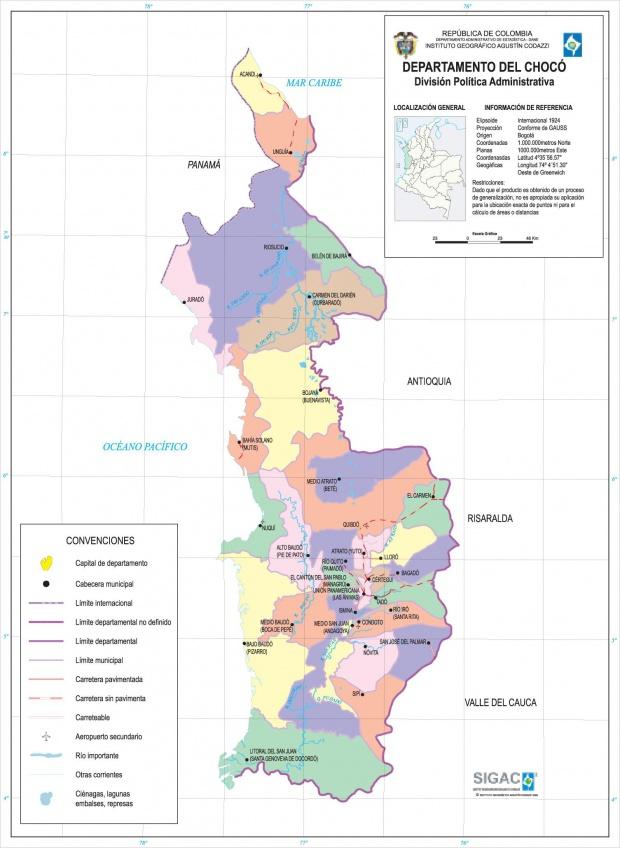 Mapa del Departamento del Chocó, Colombia