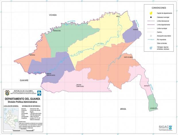 Mapa del Departamento del Guainía, Colombia