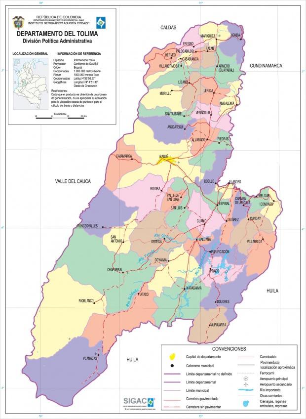 Mapa del Departamento del Tolima, Colombia