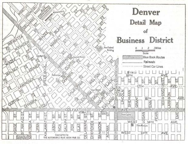 Mapa del Distrito Comercial de Denver, Colorado, Estados Unidos 1920