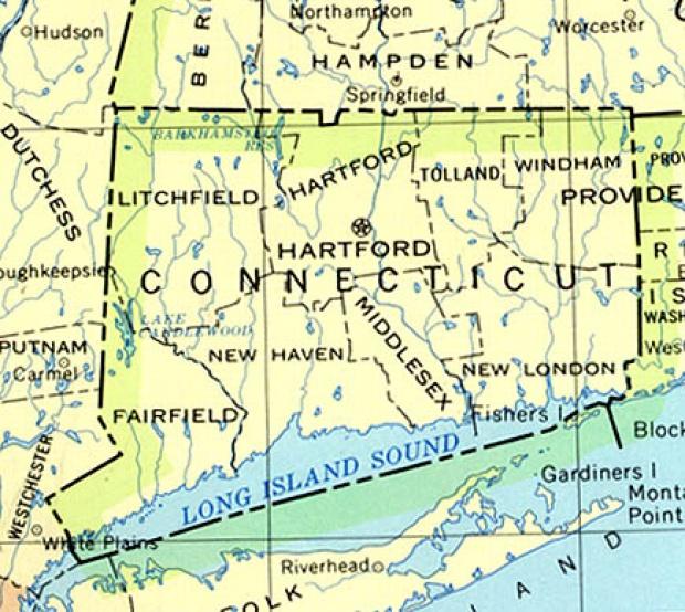 Mapa del Estado de Connecticut, Estados Unidos
