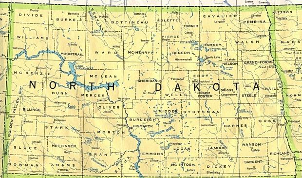 Mapa del Estado de Dakota del Norte, Estados Unidos