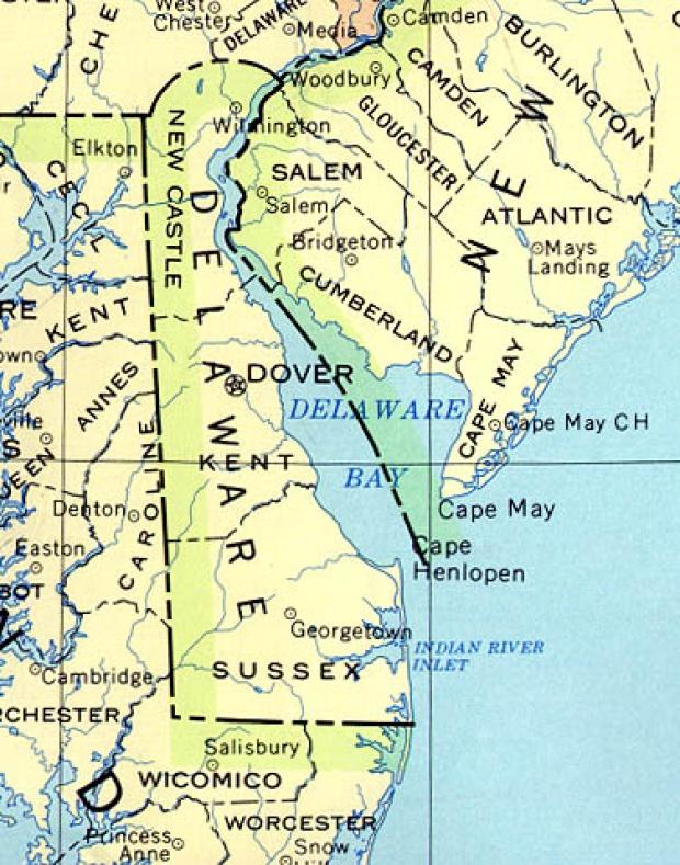 Mapa del Estado de Delaware, Estados Unidos