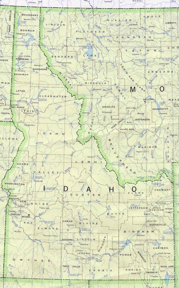 Mapa del Estado de Idaho, Estados Unidos