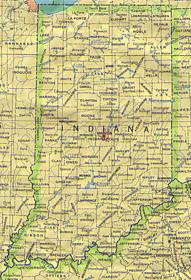 Mapa del Estado de Indiana, Estados Unidos