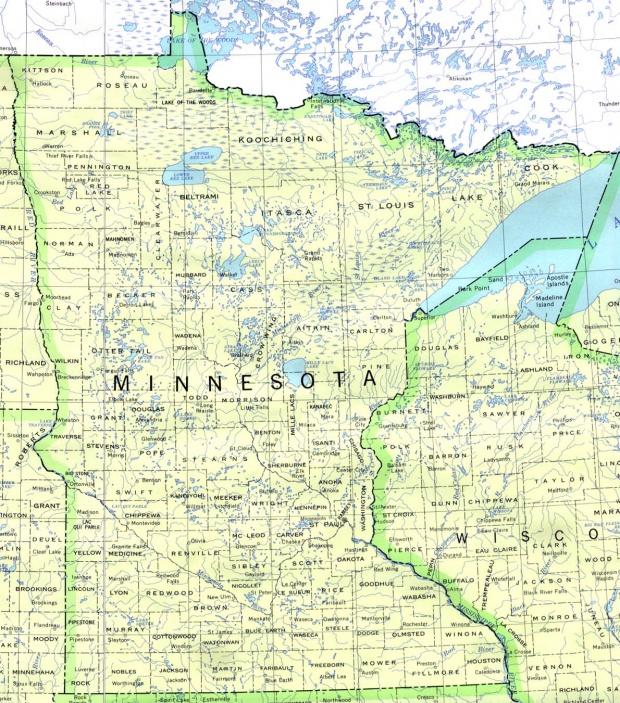 Mapa del Estado de Minnesota, Estados Unidos