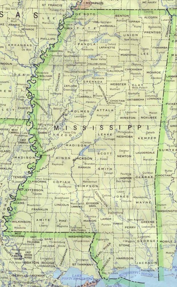 Mapa del Estado de Misisipi, Estados Unidos