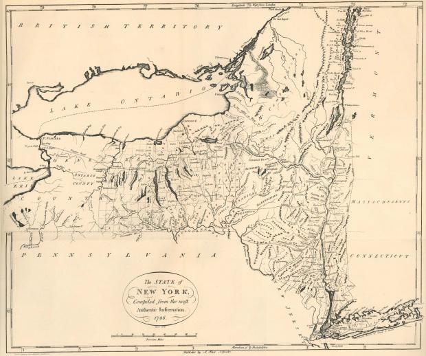 Mapa del Estado de Nueva York, Estados Unidos 1796
