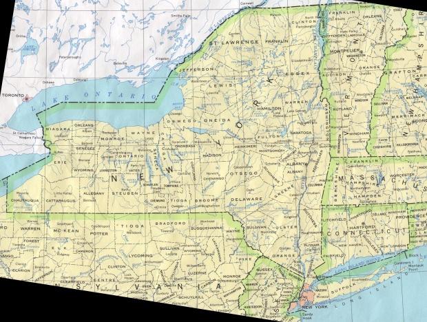 Mapa del Estado de Nueva York, Estados Unidos