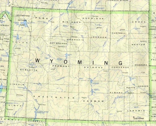 Mapa del Estado de Wyoming, Estados Unidos