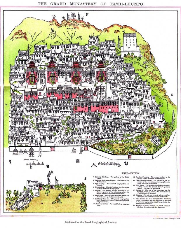 Mapa del Monasterio de Tashilhunpo, Tibet 1902