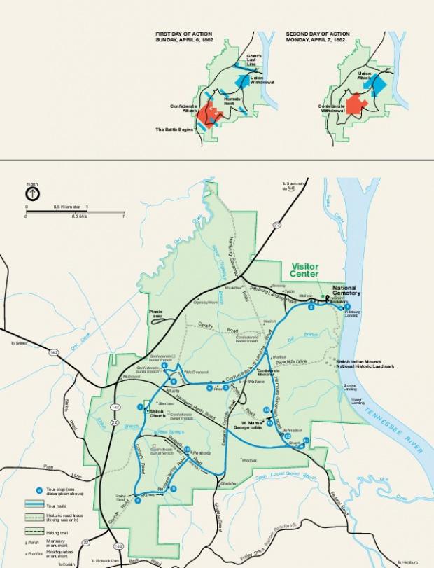 Mapa del Parque Militar Nacional de Shiloh, Tennessee, Estados Unidos