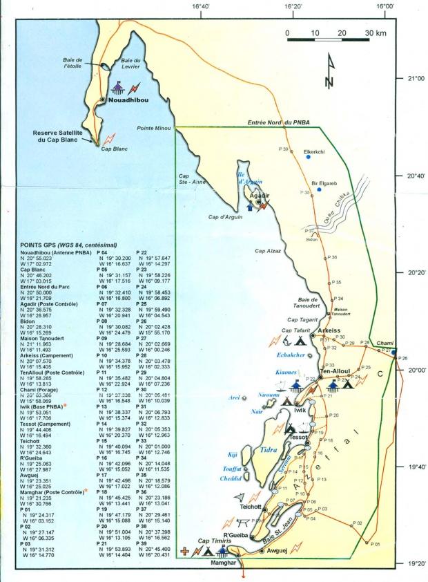Mapa del Parque Nacional Banc d'Arguin, Mauritania
