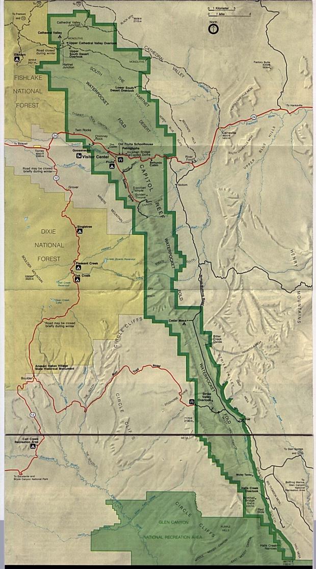Mapa del Parque Nacional Capitol Reef, Utah, Estados Unidos