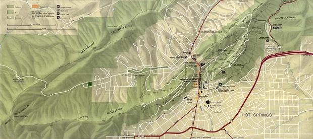 Mapa del Parque Nacional Hot Springs, Arkansas, Estados Unidos