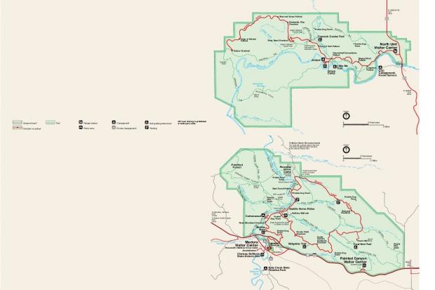 Mapa del Parque Nacional Theodore Roosevelt, Dakota del Norte, Estados Unidos