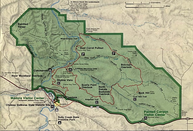 Mapa del Parque Nacional Theodore Roosevelt (Unidad Sur), Dakota del Norte, Estados Unidos