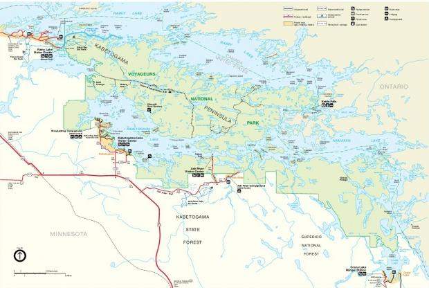 Mapa del Parque Nacional Voyageurs, Minnesota, Estados Unidos