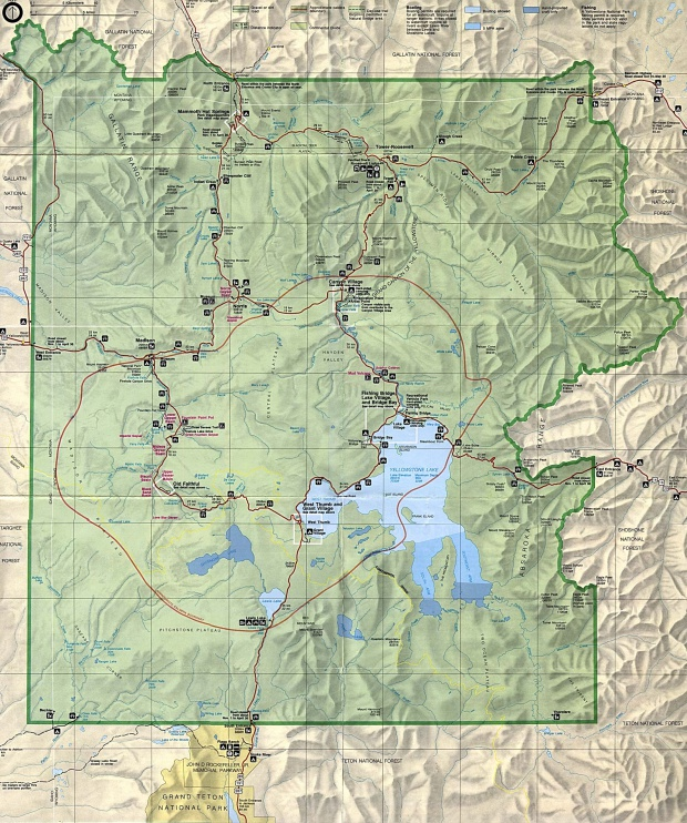 Mapa del Parque Nacional Yellowstone, Wyoming, Montana, Idaho, Estados Unidos