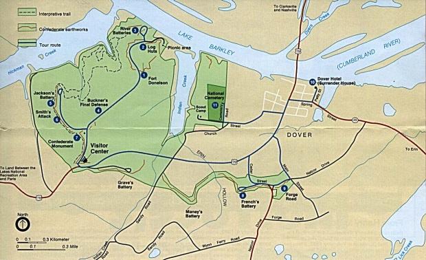 Mapa del Parque del Campo de Batalla Nacional Fort Donelson, Tennessee, Estados Unidos