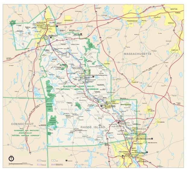 Mapa del Parque del Corredor Patrimonial Nacional Blackstone River Valley, Massachusetts, Rhode Island, Estados Unidos
