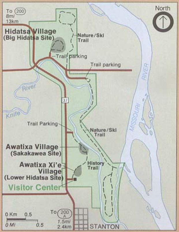 Mapa del Parque del Sitio Histórico Nacional Aldeas Indígenas Knife River, Dakota del Norte, Estados Unidos