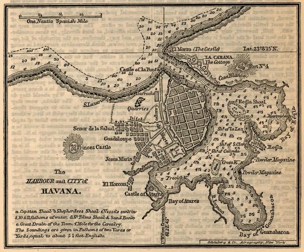 Mapa del Puerto y de la Ciudad de La Havana, Cuba 1858