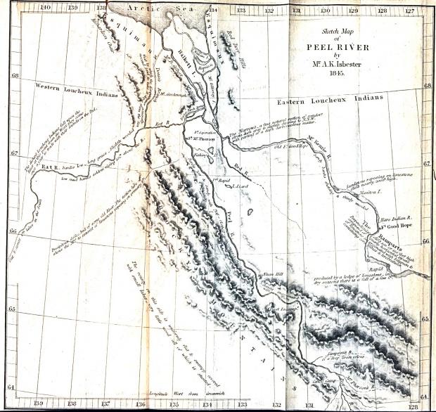 Mapa del Río Peel, Territorios del Noroeste - Yukón, Canadá 1845