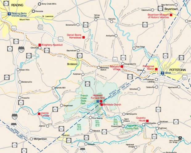 Mapa del Sitio Histórico Nacional Hopewell Furnace, Pensilvania, Estados Unidos 2006