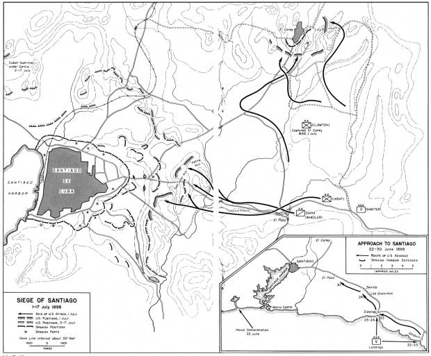 Mapa del Sitio de Santiago, Cuba, Guerra Hispano-Estadounidense 1 - 17 Julio 1898