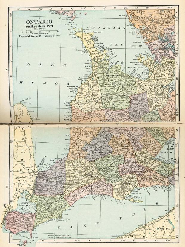 Mapa del Suroccidente de Ontario, Canadá 1921