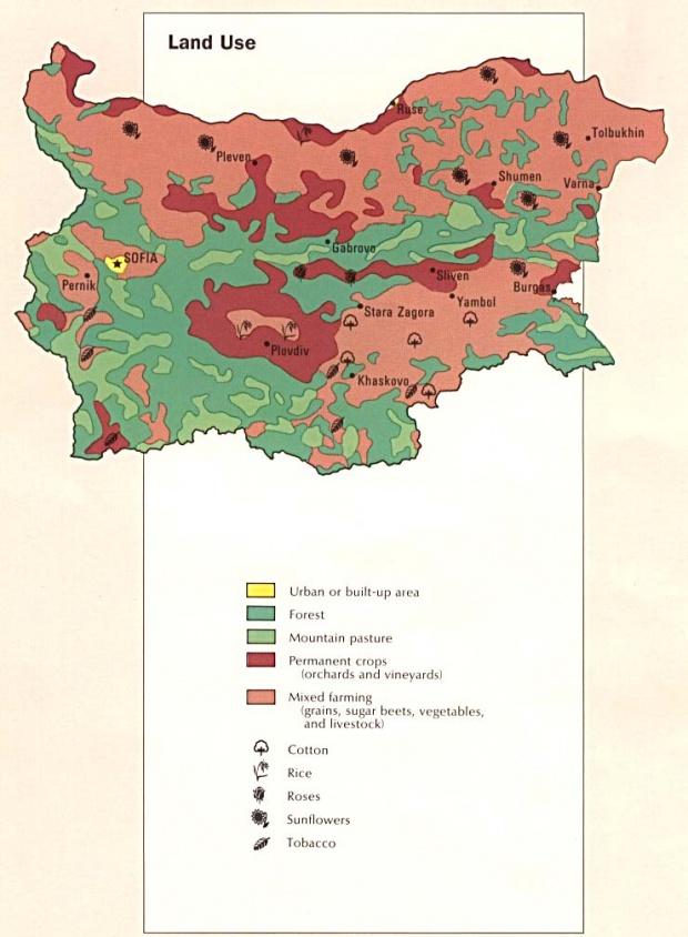Mapa del Uso de la Tierra de Bulgaria