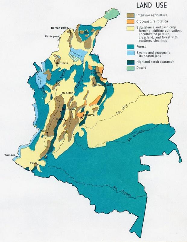 Mapa del Uso del Suelo, Colombia 1970