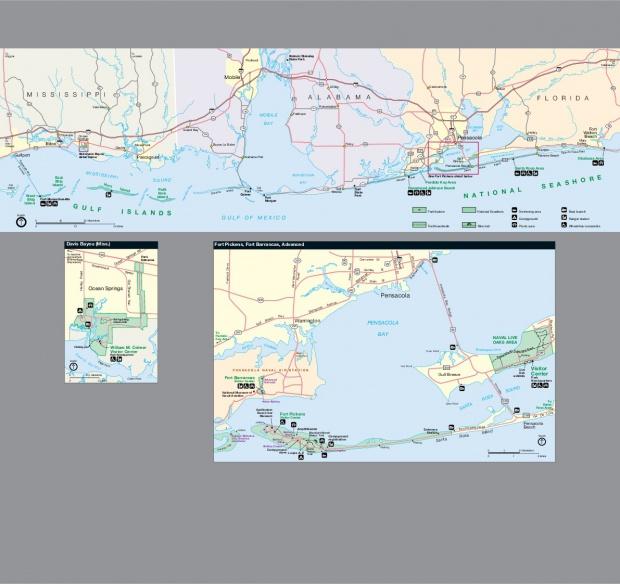 Mapa del Área Marina Costera Protegida de Gulf Islands (Misisipi, Alabama, y Florida), Estados Unidos