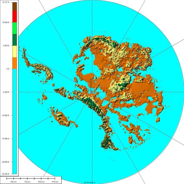 Mapa físico de la Antártida 2008
