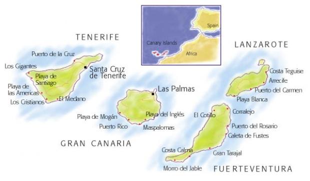 Mapa físico de las Islas Canarias