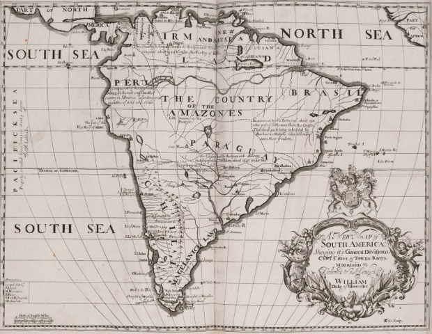 Mapa histórico de América del Sur 1704