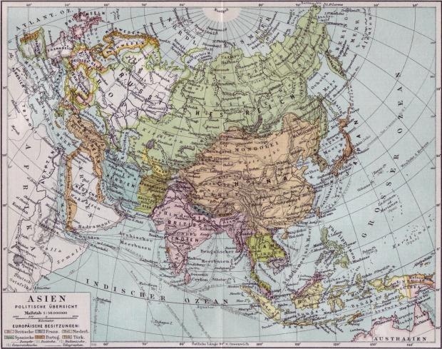 Mapa histórico de Asia 1890