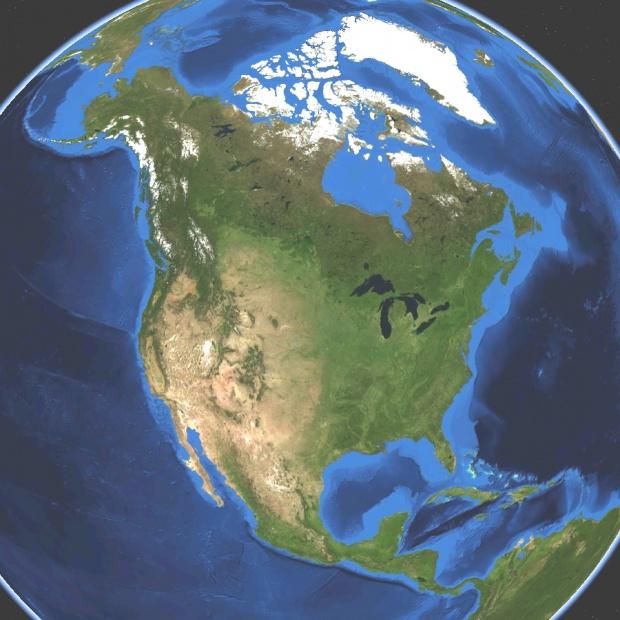 Mapa satelital de América del Norte