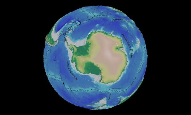 Mapa tectónico y batimétrico de la Antártida