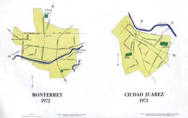 Mapas de Monterrey y Ciudad Juarez, México 1972 - 1973
