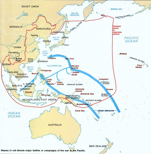Mayor alcance del avance japonés, agosto 1942