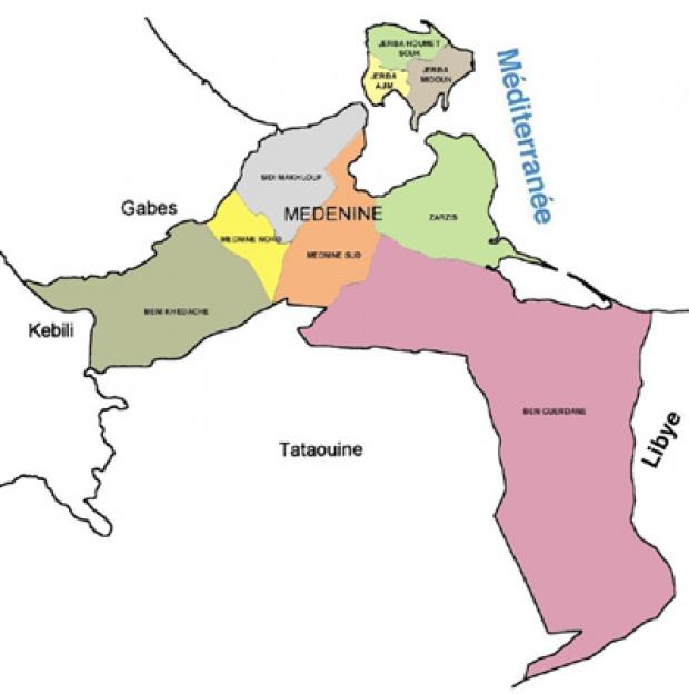 Médenine Governorate Map, Tunisia