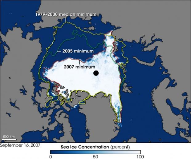 Mínimo récord de hielo marino en el Ártico 2007