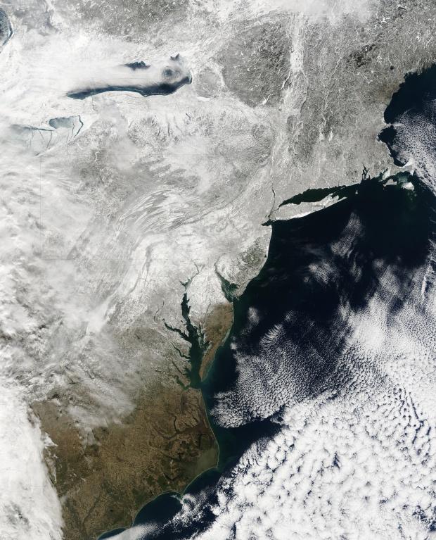 Nieve a través de los estados del Mid-Atlantic, Estados Unidos