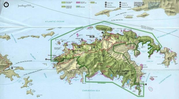 Parque Nacional Islas Vírgenes (Mapa del Parque)